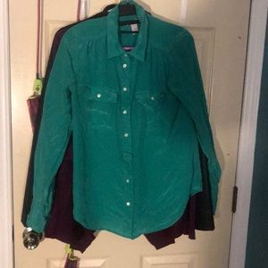 J.Crew silk blouse in blue/green turquoise
